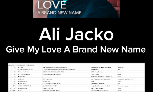 "Ali Jacko's ""Give My Love A Brand New Name"" Hits #18 On The Music Week Commercial Pop Club Chart"